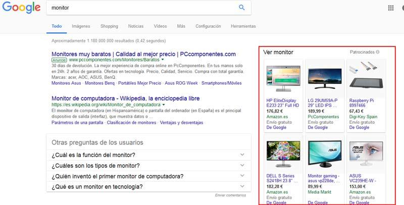 Ejemplo vista Google Shopping