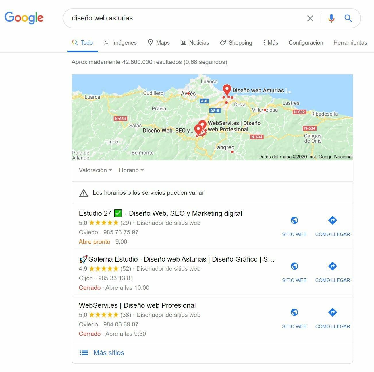 diseño web asturias google my business