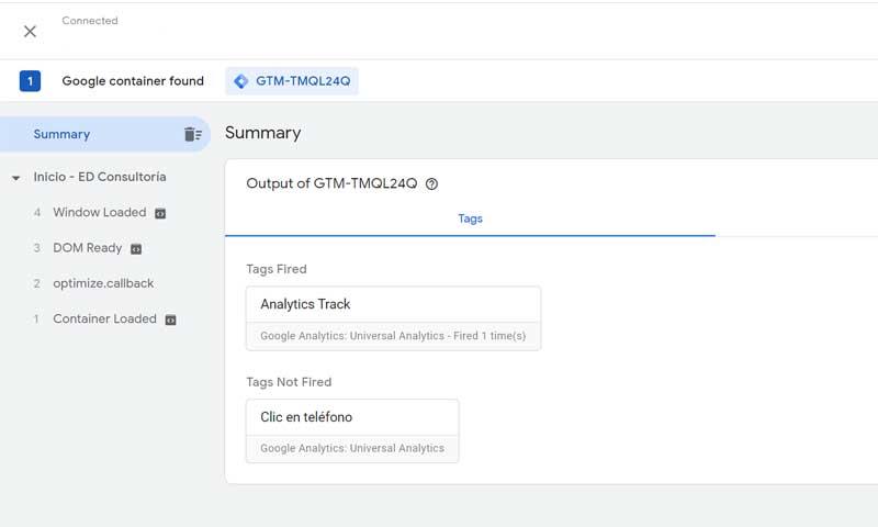Imagen del Preview de Google Tag Assistant