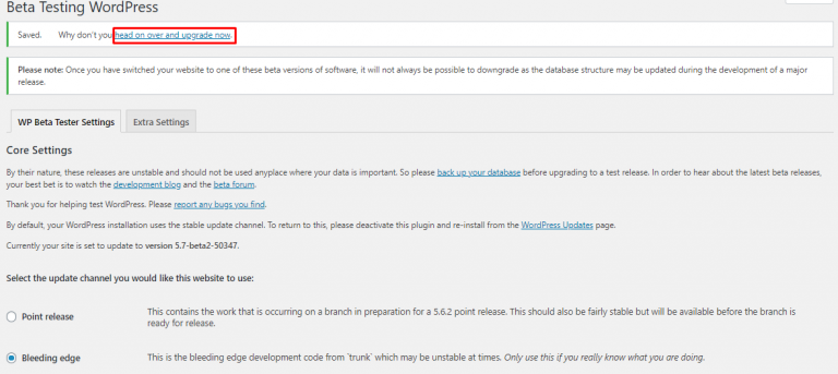 Novedades wordpress 5 7 Activar beta