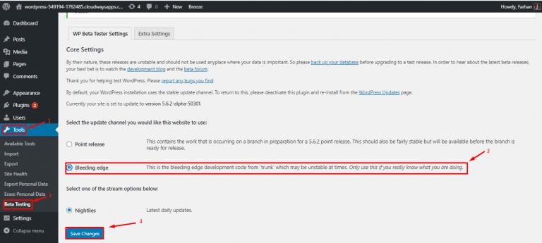 Wordpress 5 7 seleccionar version beta