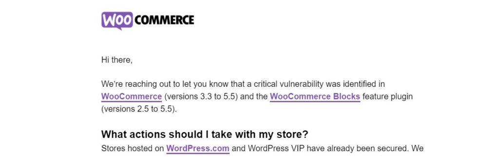 captura del email de fallo critico en woocommerce